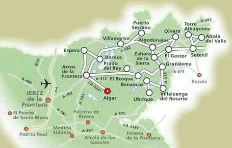 Mapa Pueblos Blancos Cadiz.Situacion Geografica