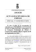 ACTUALIZACIÓN BOLSA EMPLEO OFICIAL 1ª CONSTRUCCIÓN